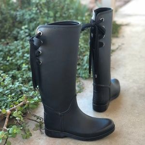 Coach Trustee Lace Up Tall Rubber Rain Boots